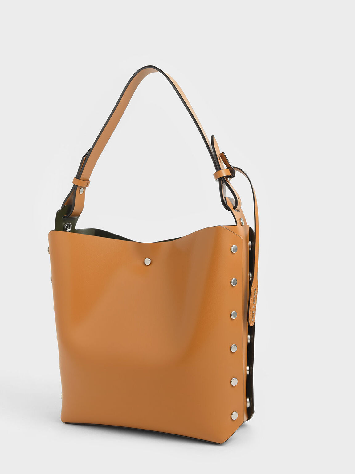 Reversible Studded Trapeze Shoulder Bag, Tan, hi-res