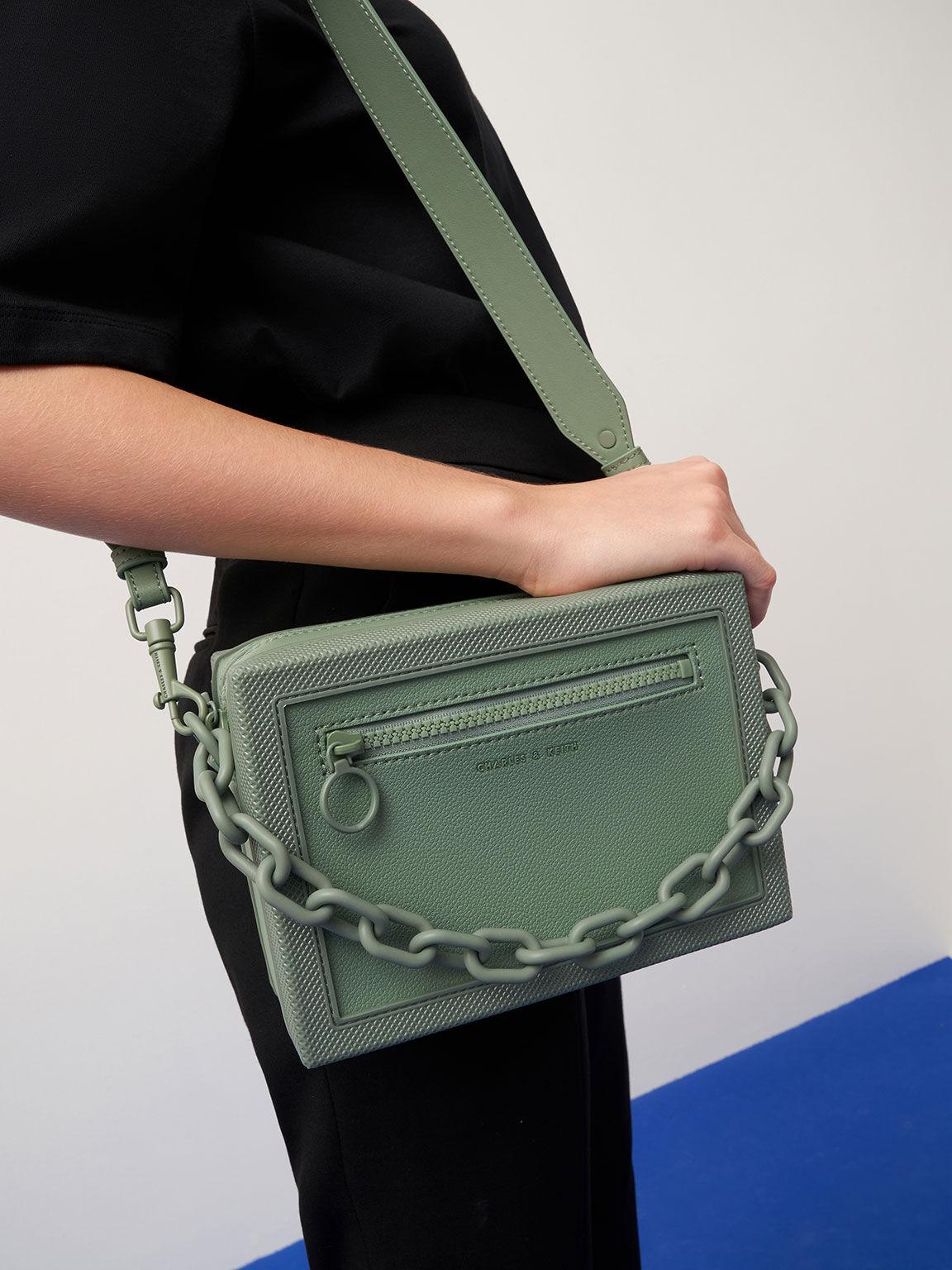 Chain Link Crossbody Bag, Sage Green, hi-res