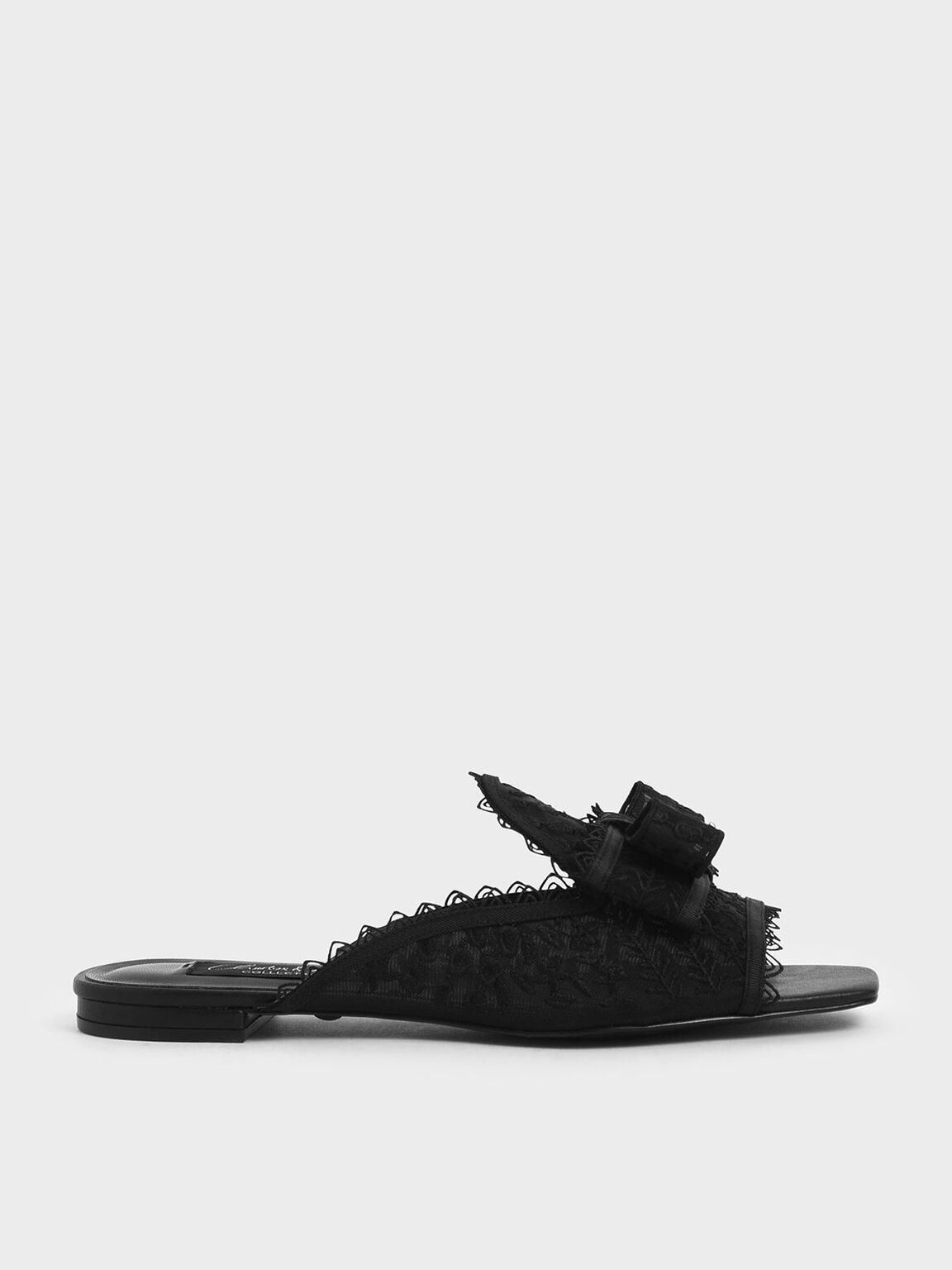Floral Embroidered Mesh Slide Sandals, Black, hi-res