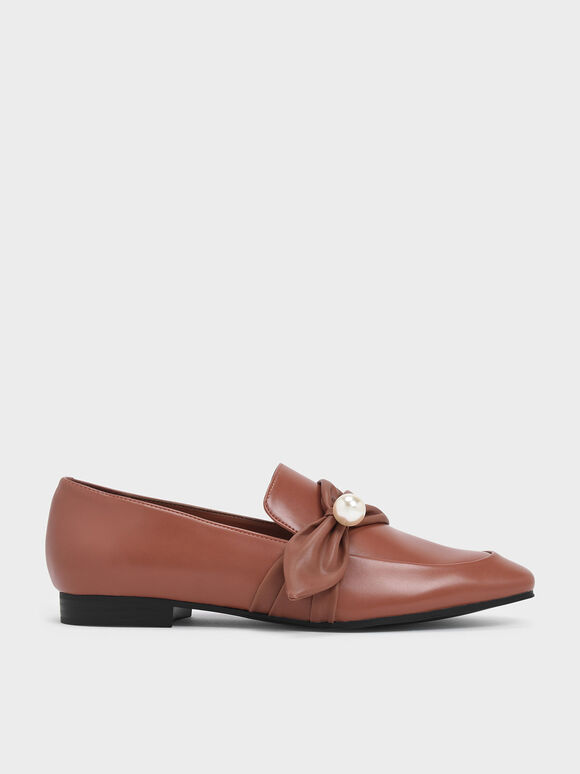 Embellished Ruched Detail Loafers, Brick, hi-res