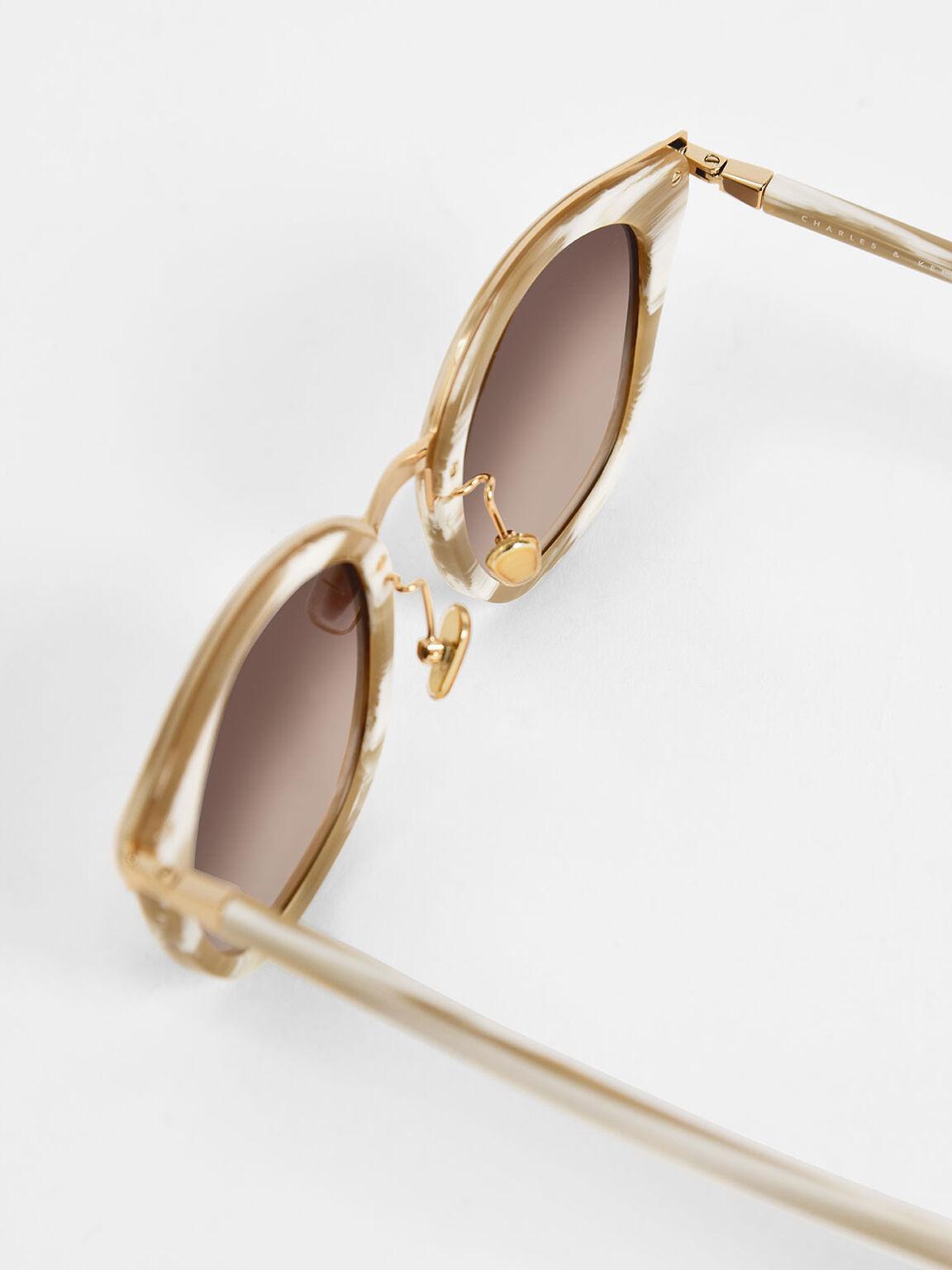 旅人膠框墨鏡, 奶油色, hi-res