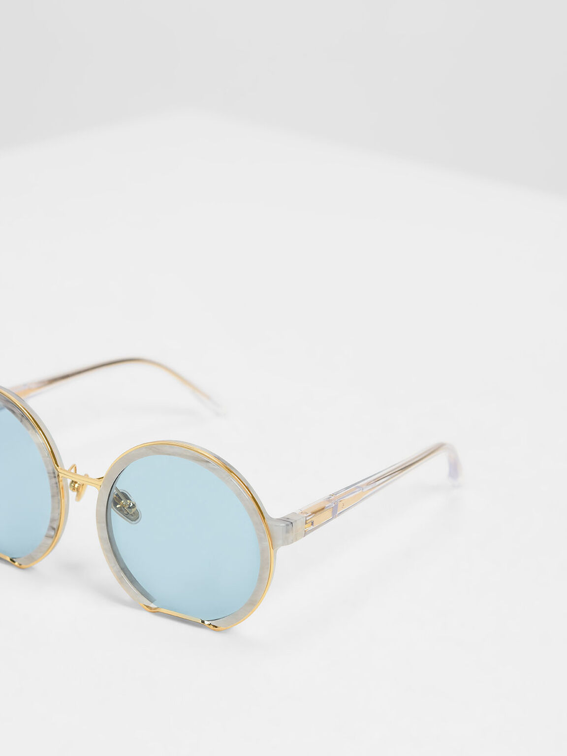 Cut Off Frame Round Sunglasses, White, hi-res
