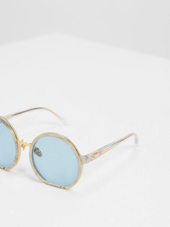 Cut Off Frame Round Sunglasses, White