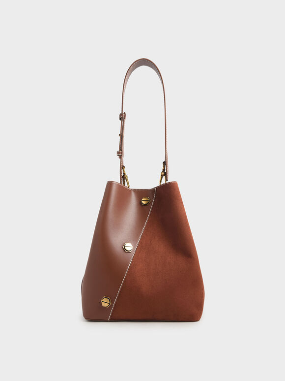 Studded Textured Hobo Bag, Dark Brown, hi-res