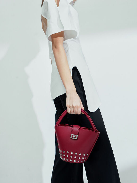 Studded Bucket Bag, Berry, hi-res