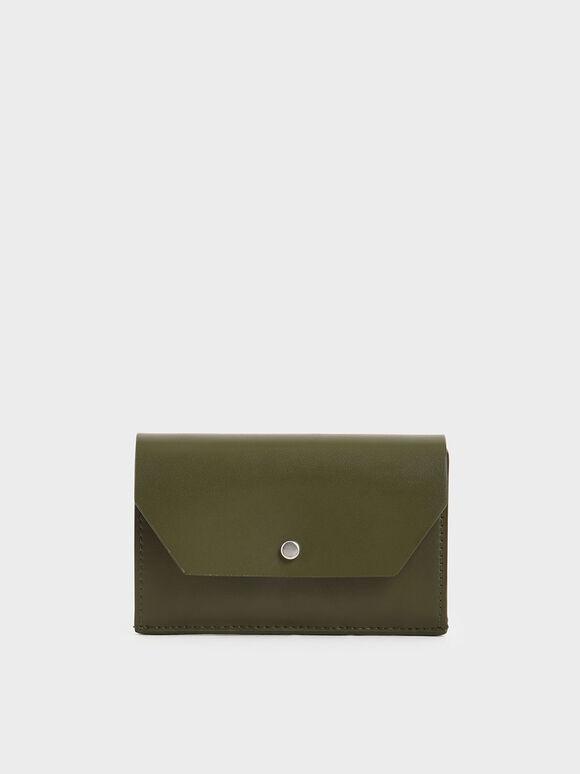 Reversible Front Flap Card Holder, Olive, hi-res