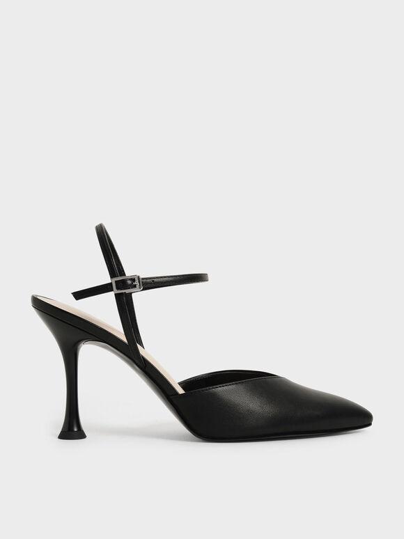 尖頭繞踝高跟鞋, 黑色, hi-res
