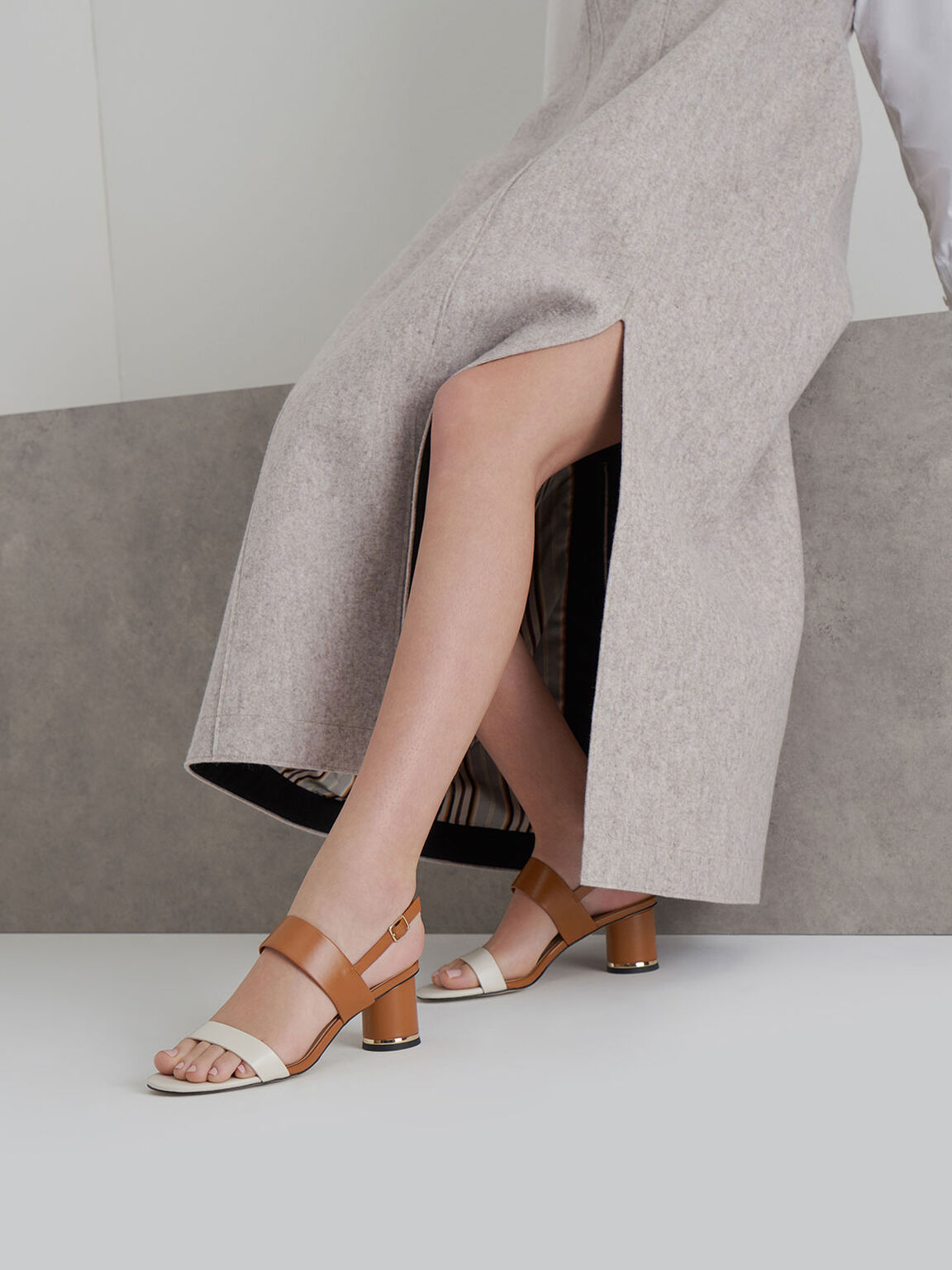 Two-Tone Cylindrical Heel Sandals, Multi, hi-res