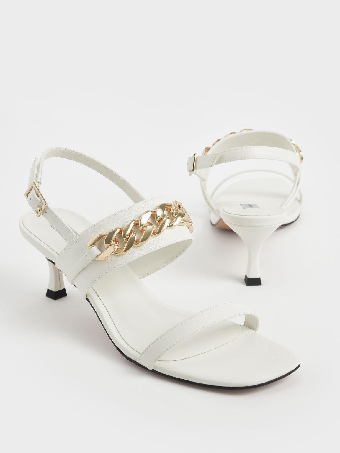 Chain Strap Heeled Sandals, White, hi-res
