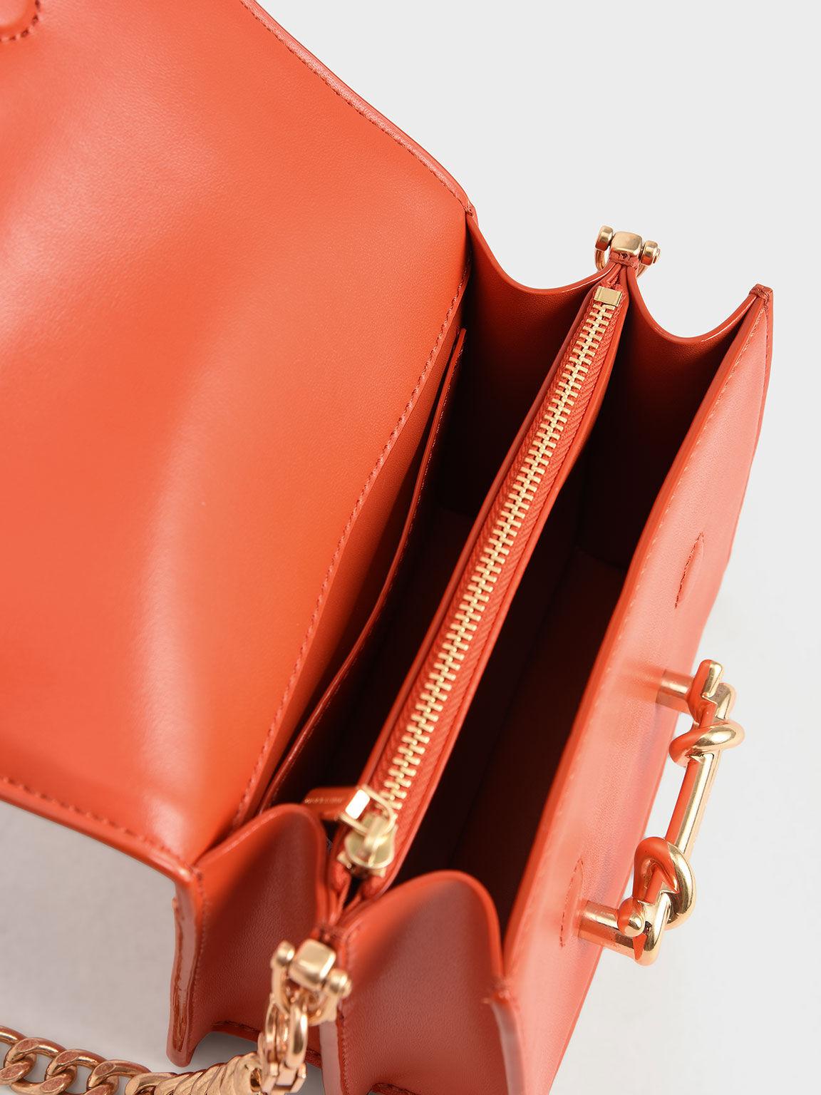 Metallic Buckle Crossbody Bag, Orange, hi-res