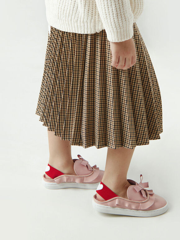 Girls' Frill-Trim Slip-On Sneakers, Nude, hi-res