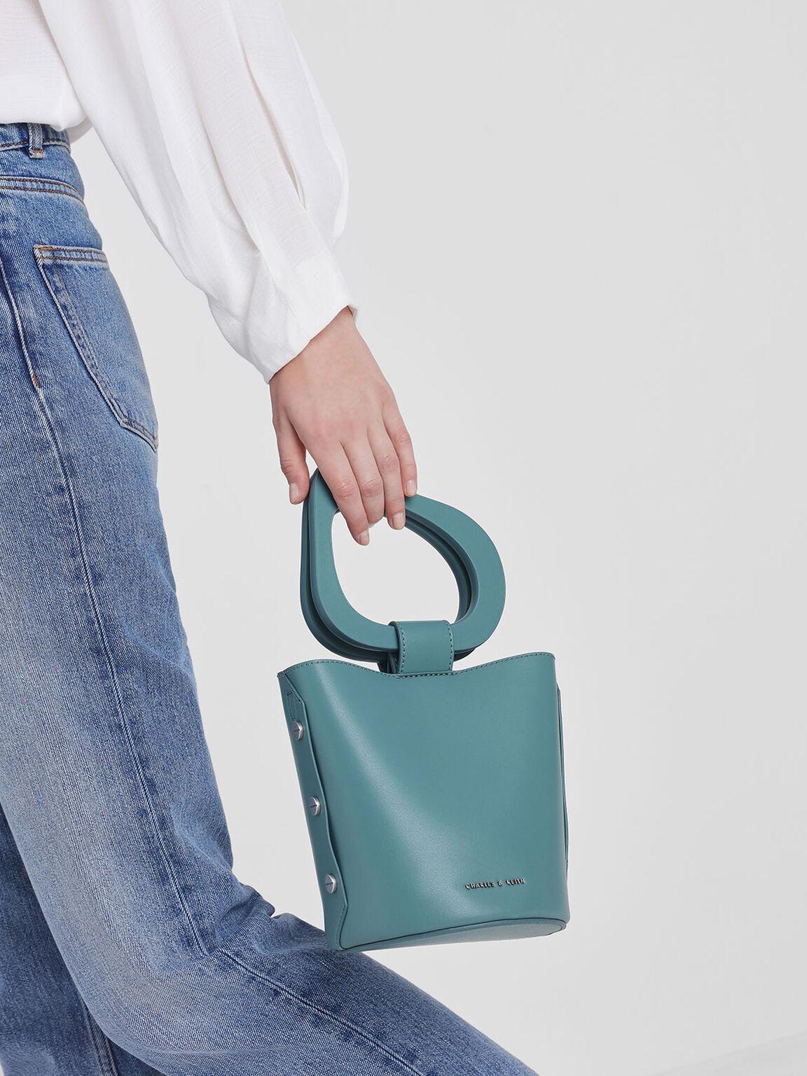 Sculptural Handle Bucket Bag, Teal, hi-res