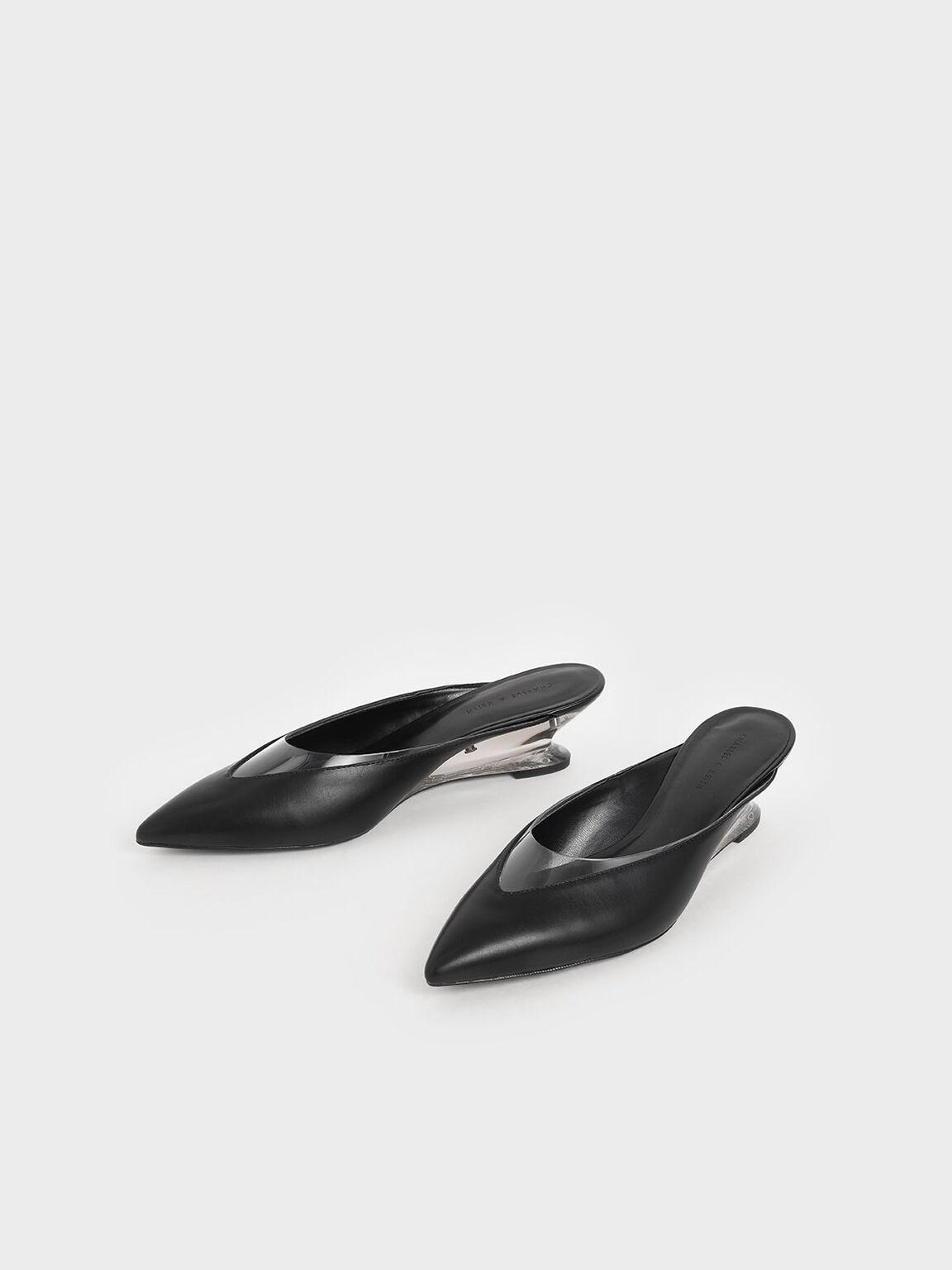 果凍拼接楔型鞋, 黑色, hi-res
