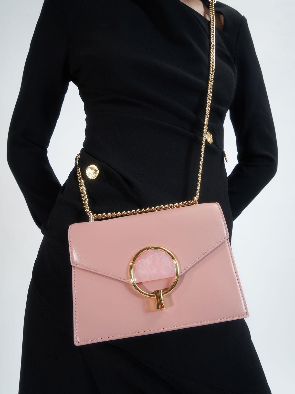Stone-Embellished Shoulder Bag, Pink, hi-res