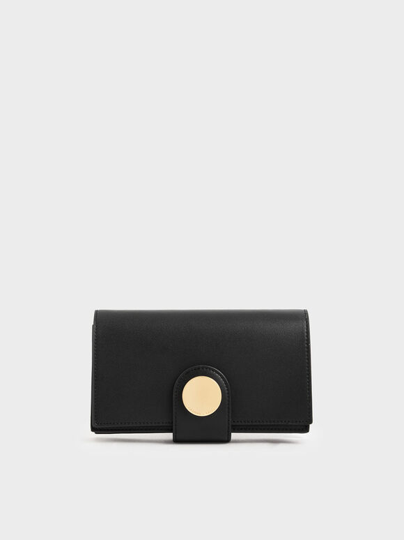 Mini Chrome Button Wallet, Black, hi-res