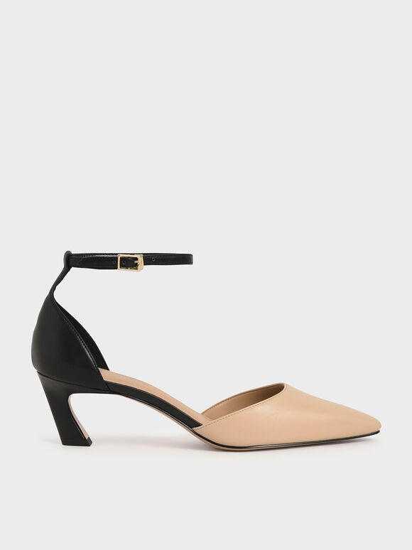 Slant Heel Ankle Strap Pumps, Multi, hi-res