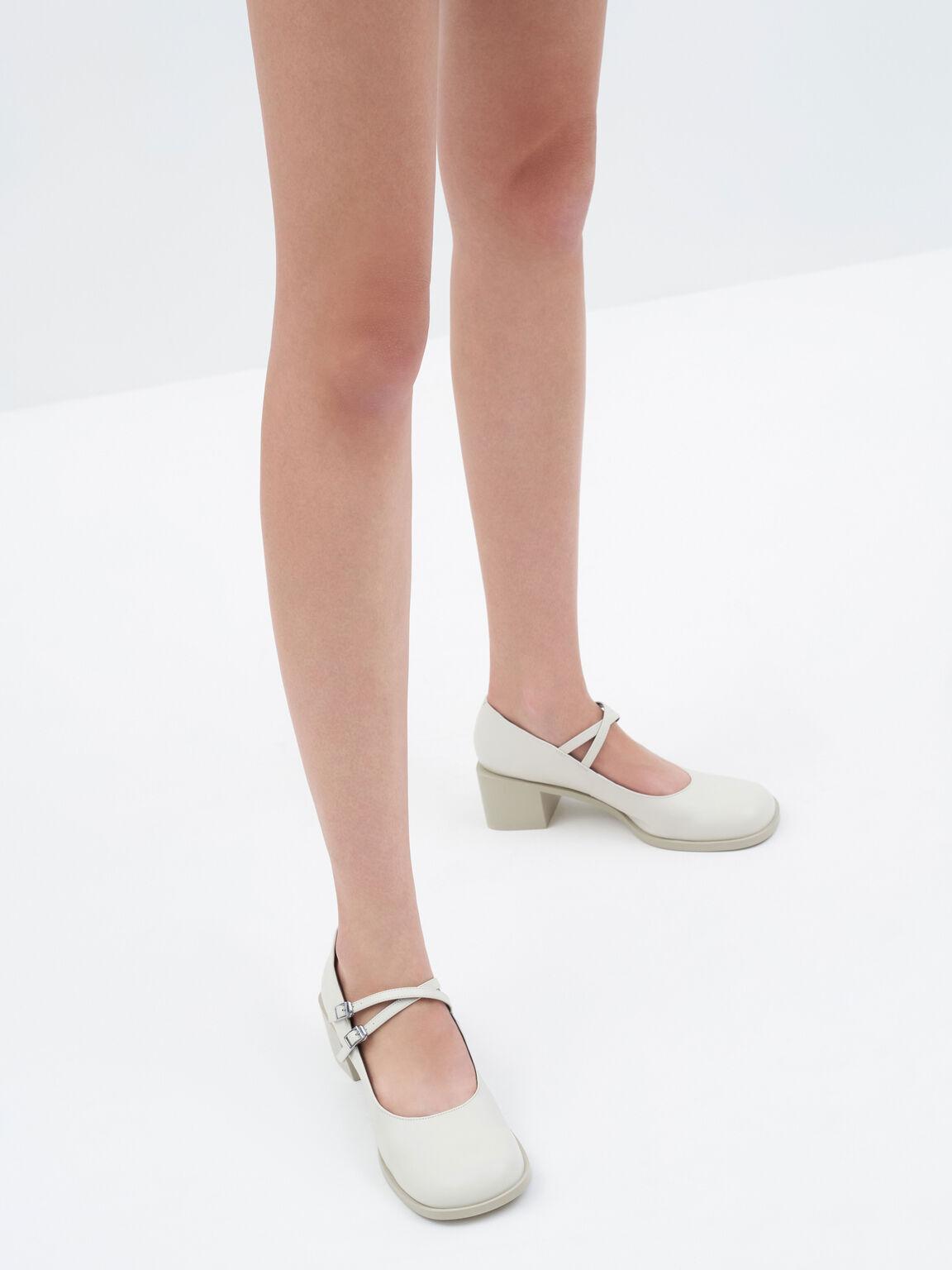交叉帶瑪莉珍粗跟鞋, 石灰白, hi-res