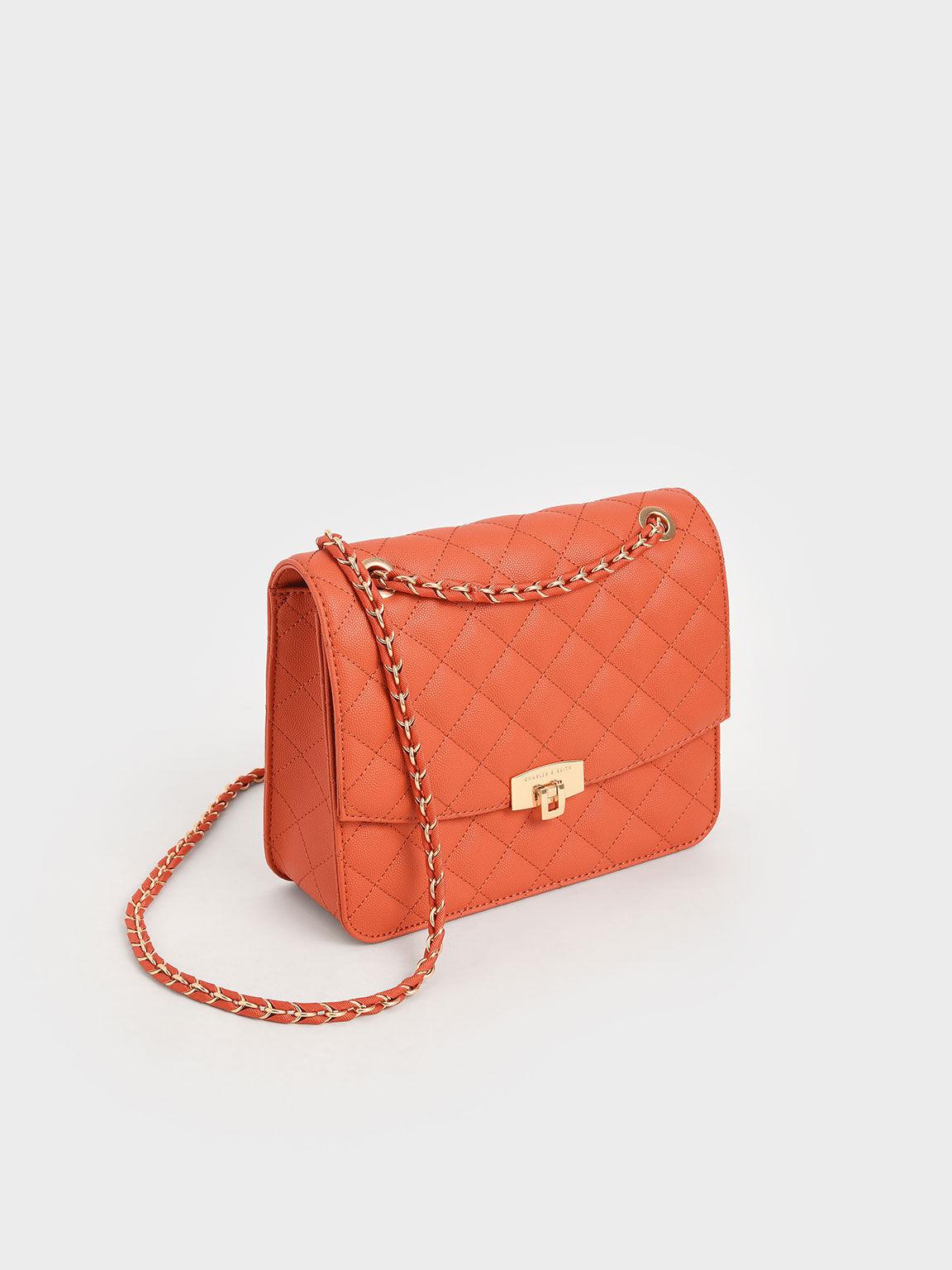 菱格紋鍊條包, 橘色, hi-res