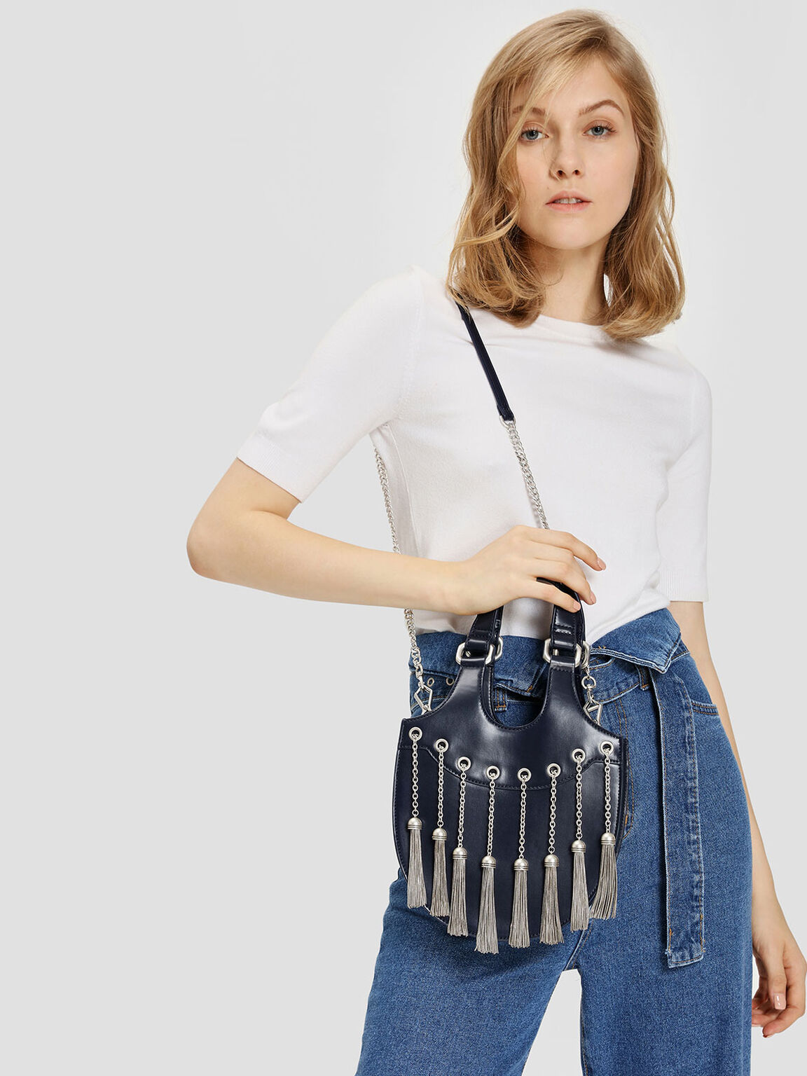 Tassel Detail Hobo Bag, Dark Blue, hi-res