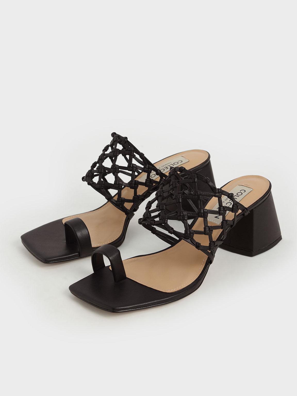 Woven Toe Ring Sandals, Black, hi-res