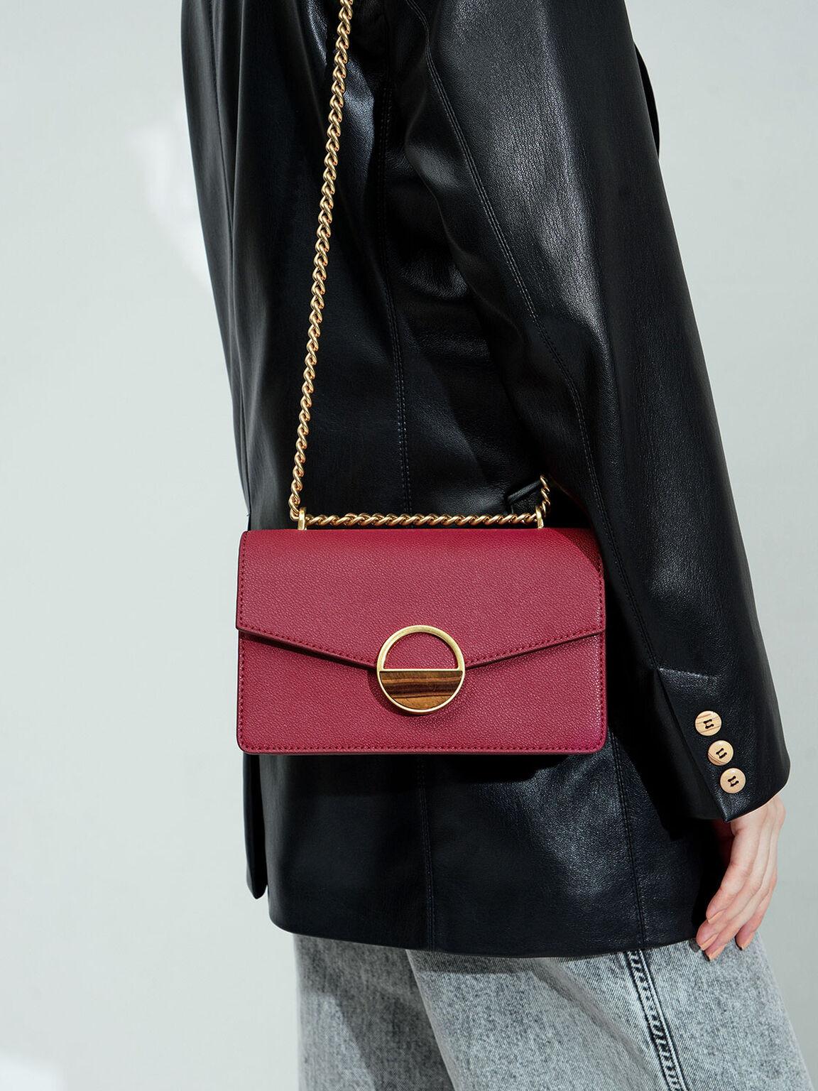 Stone Embellished-Buckle Shoulder Bag, Berry, hi-res