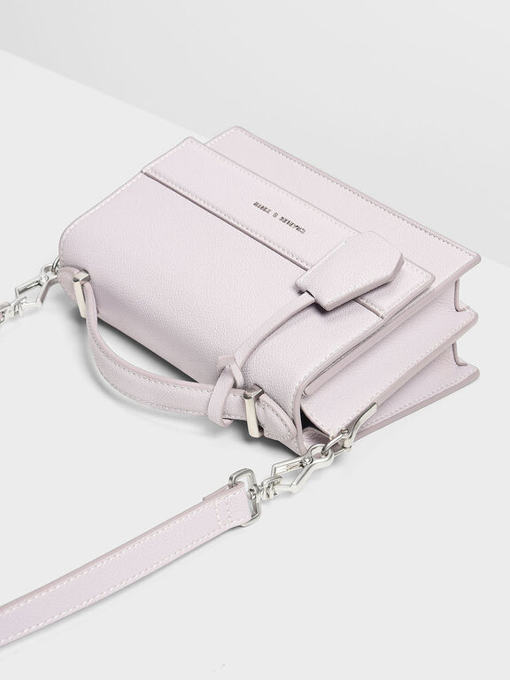 Structured Top Handle Bag, Lilac