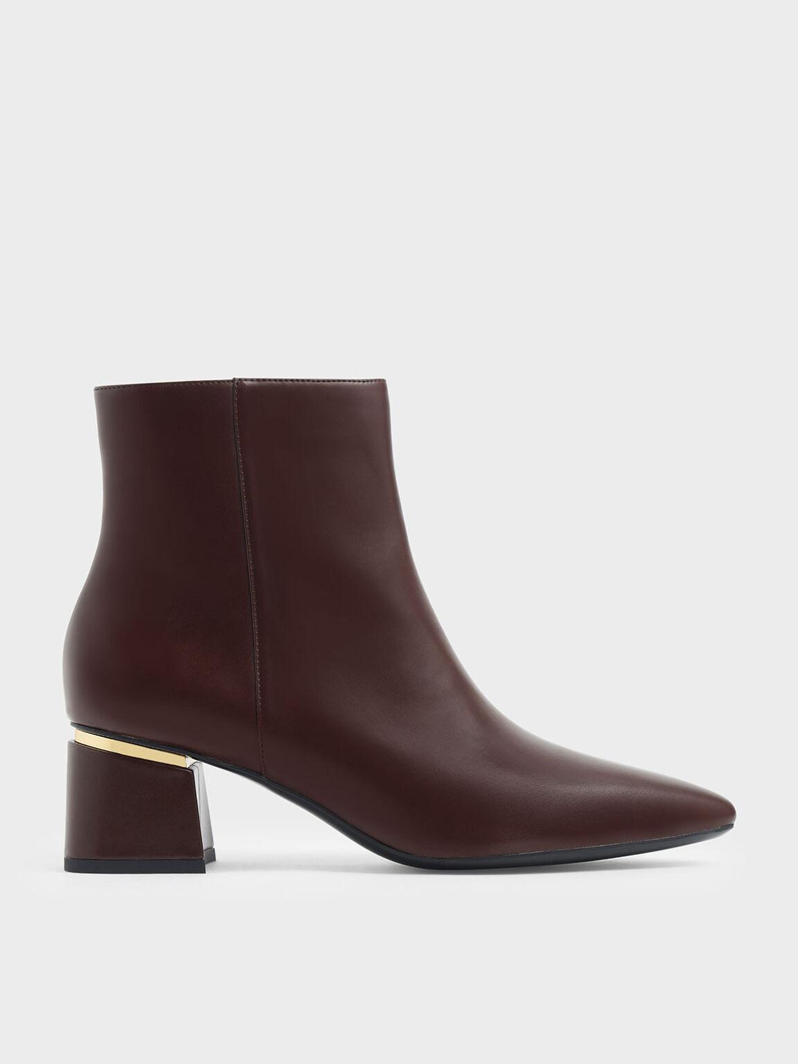 Metal Accent Block Heel Ankle Boots, Brown, hi-res