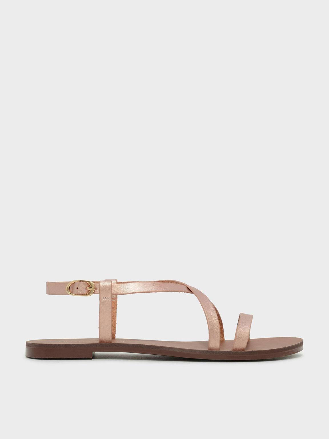 Criss Cross Sandals, Rose Gold, hi-res