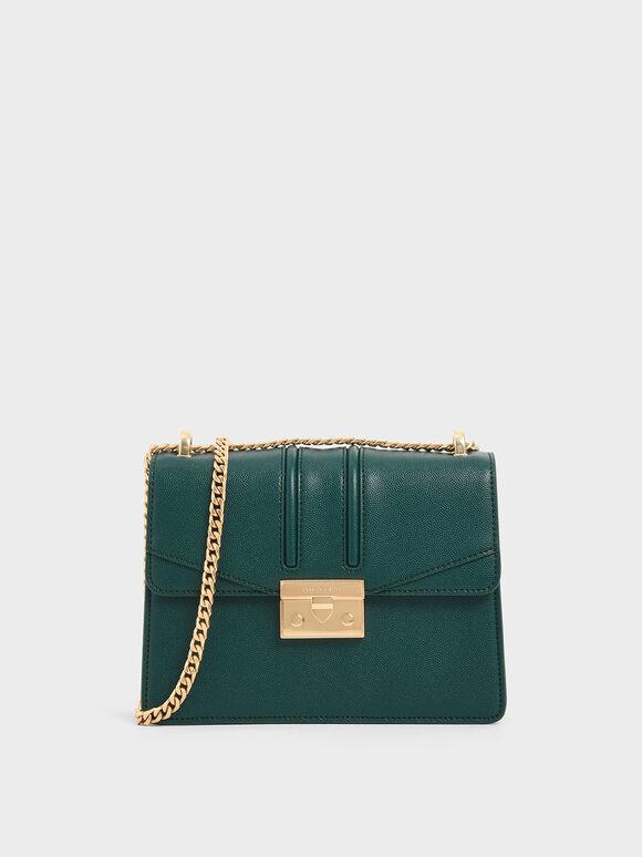 Chain Strap Shoulder Bag, Dark Green, hi-res
