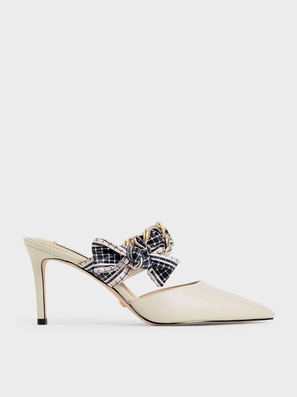 浪漫編織真皮高跟鞋, 石灰白, hi-res