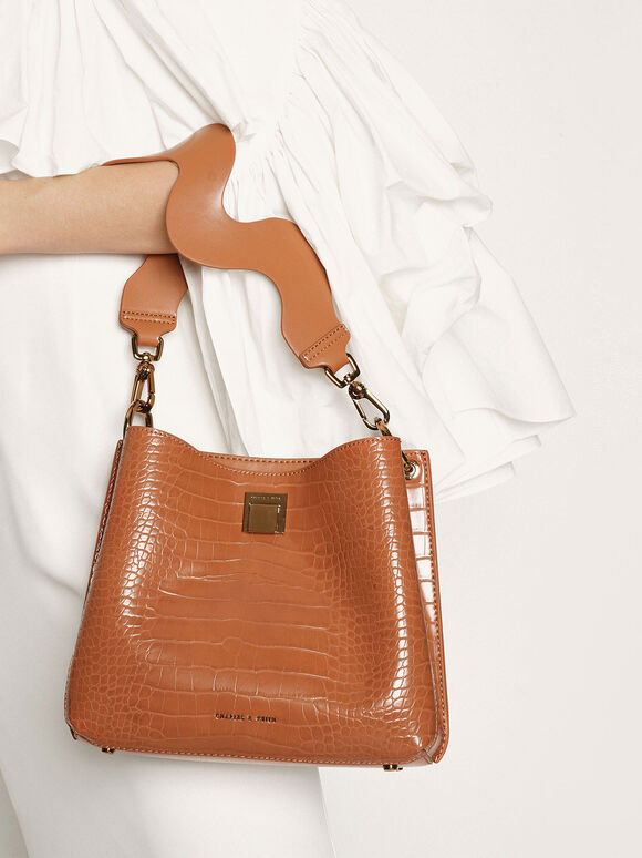 Croc-Effect Bucket Shoulder Bag, Cognac, hi-res