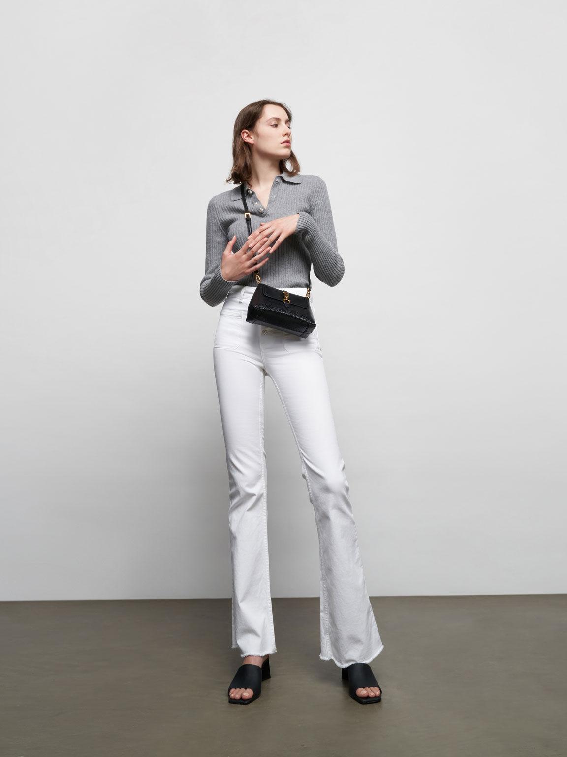 金屬鎖釦手提包, 黑色, hi-res
