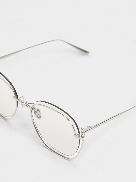 Cut Out Butterfly Sunglasses, Silver
