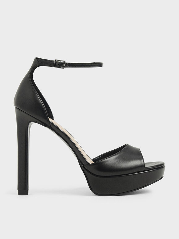 Metallic Platform Stiletto Heels, Black, hi-res