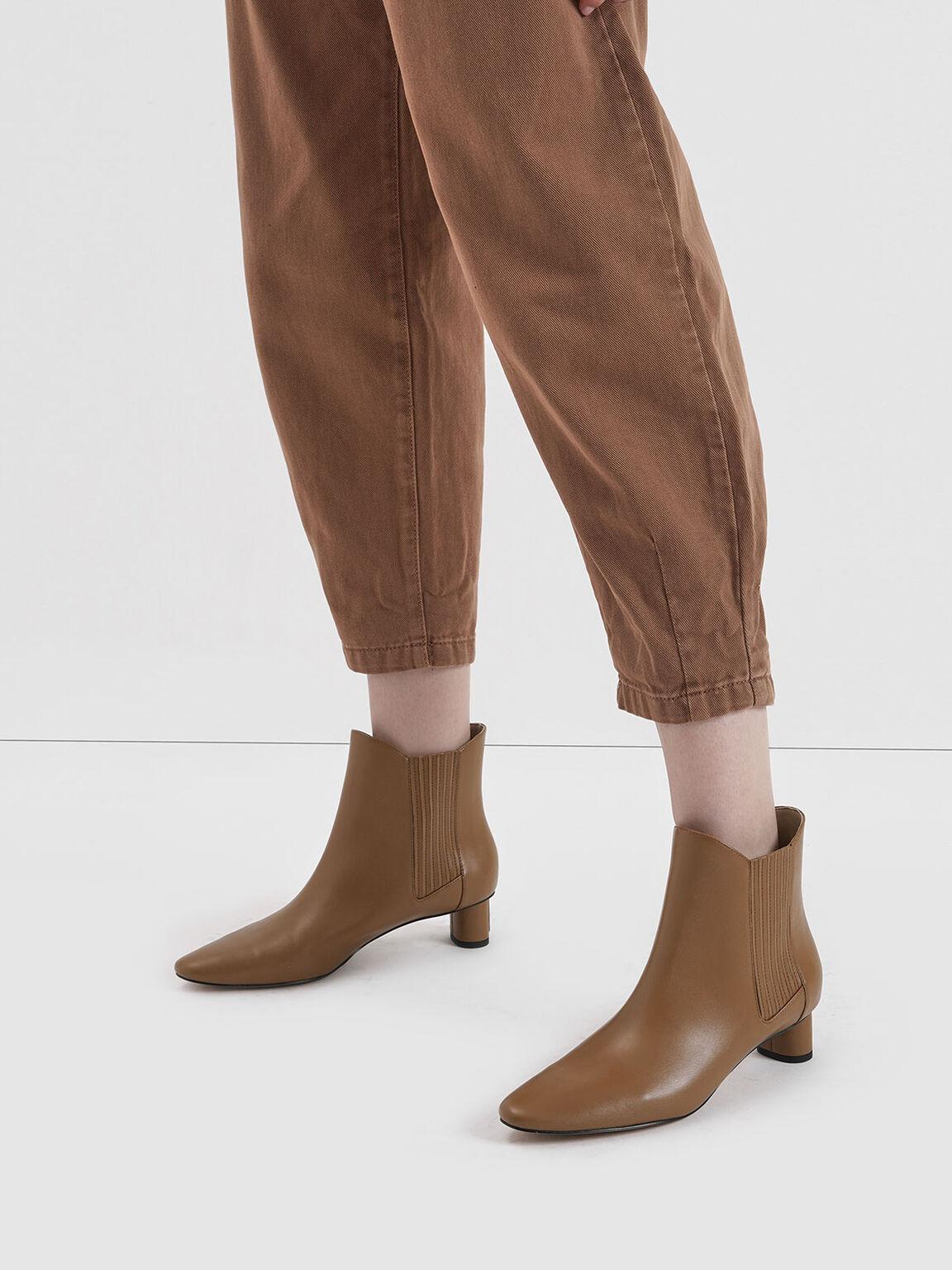 圓柱跟切爾西靴, 駝色, hi-res