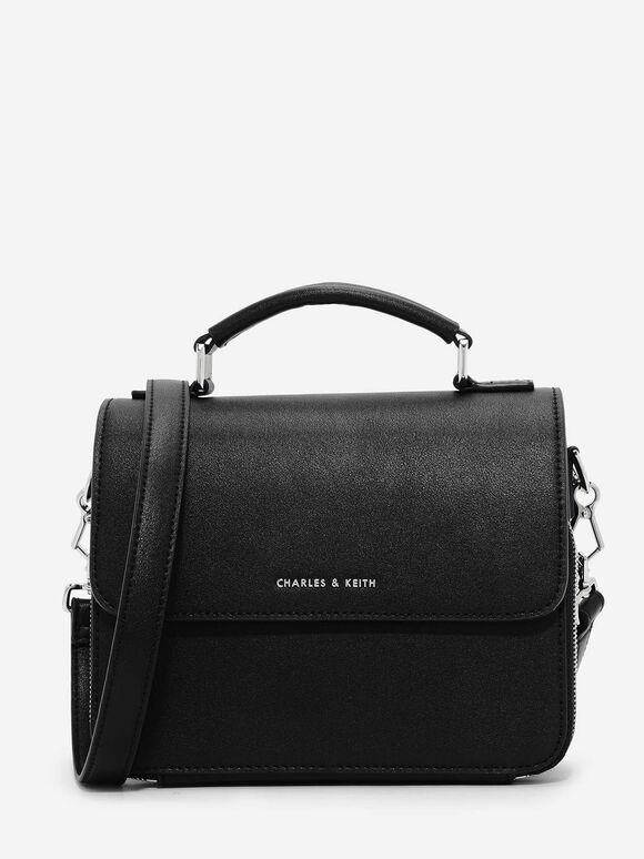 Basic Front Flap Crossbody Bag, Black, hi-res