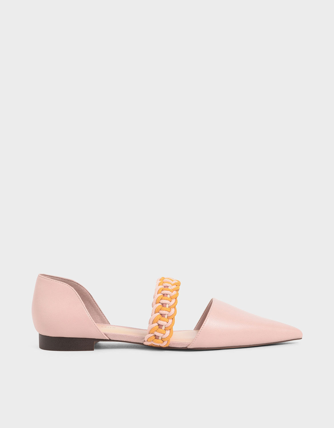 Nude Braided-Strap Mary Jane Flats