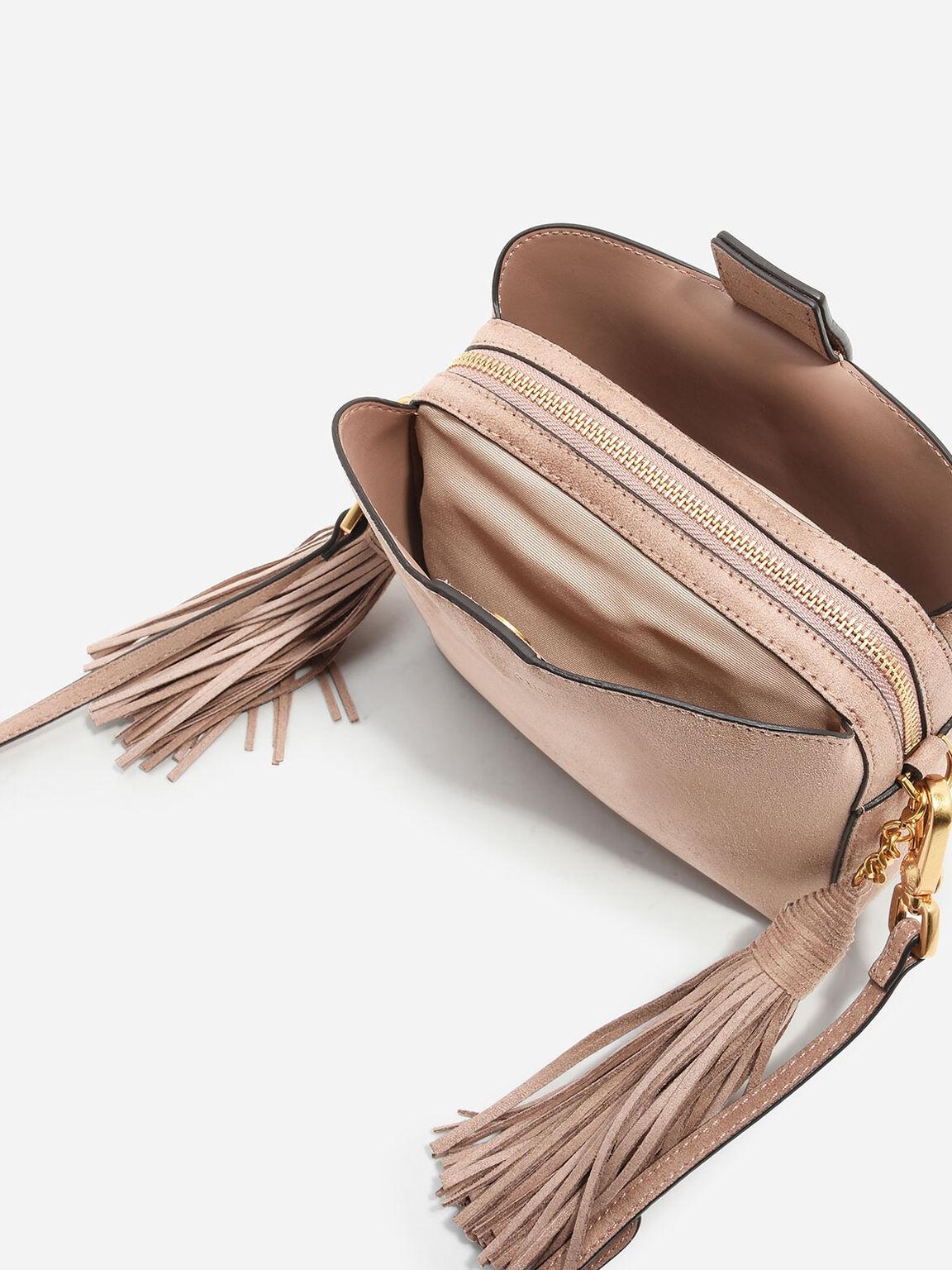 Tassel-Detail Sling Bag, Nude, hi-res