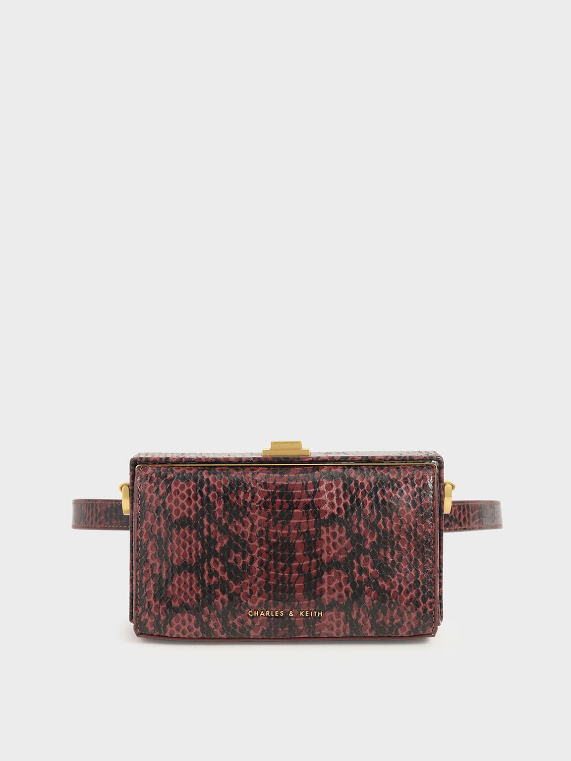 Snake Print Rectangular Belt Bag, Clay, hi-res