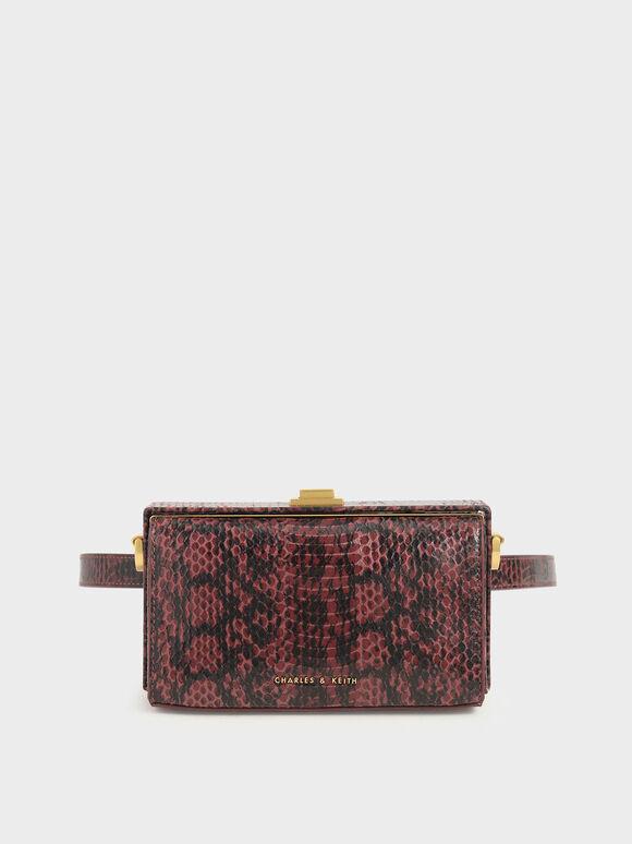 Snake Print Rectangular Belt Bag, Clay, hi-res