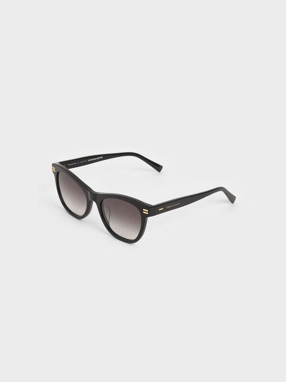 Acetate Rectangular Sunglasses, Black, hi-res