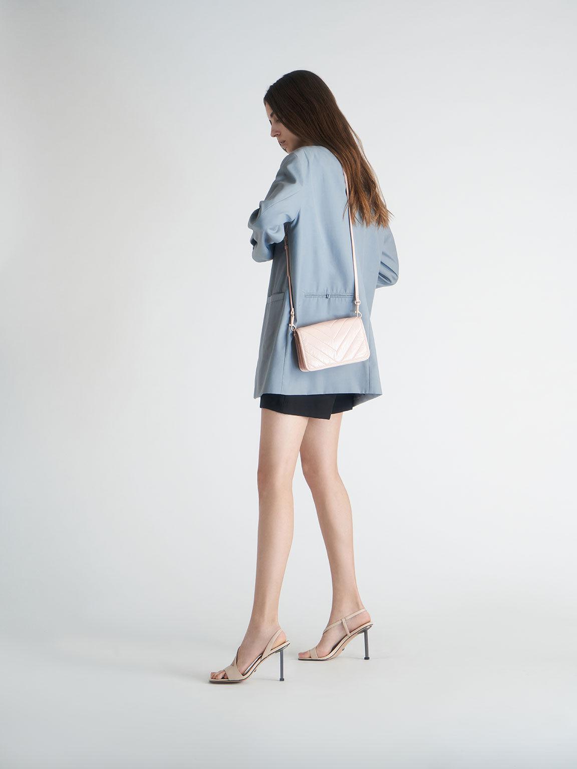 Leather Asymmetric Strap Slingback Sandals, Chalk, hi-res