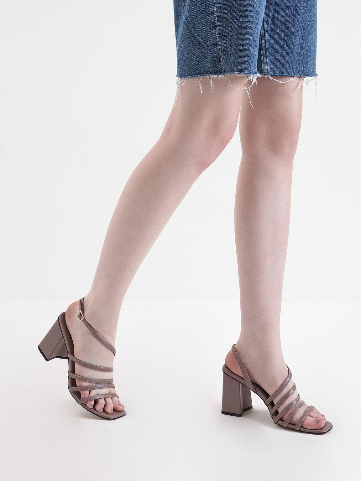 多層次細帶涼鞋, 紫灰色, hi-res