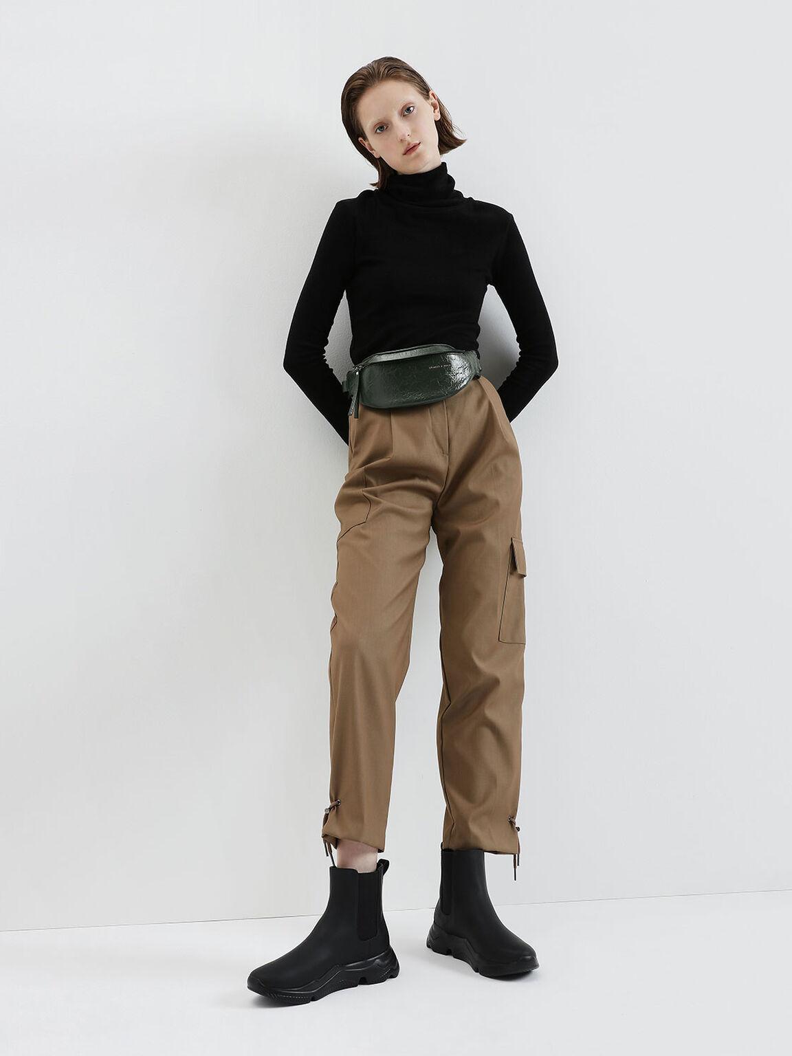 Wrinkled Effect Belt Bag, Dark Green, hi-res