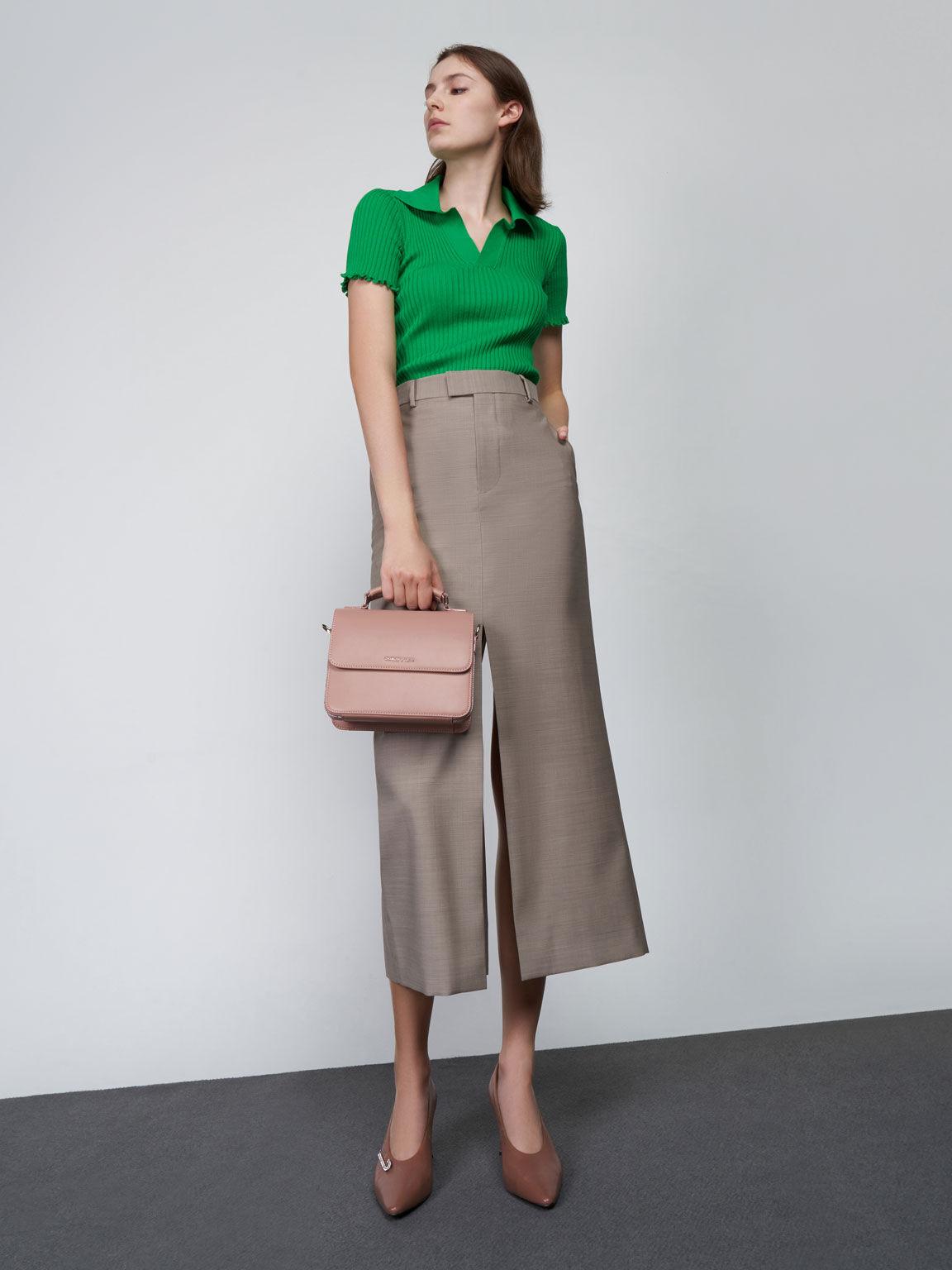 Front Flap Top Handle Crossbody Bag, Blush, hi-res