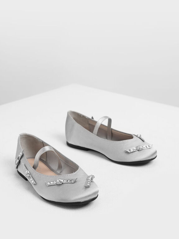 Girls' Bow Embellished Satin Mary Janes, Silver