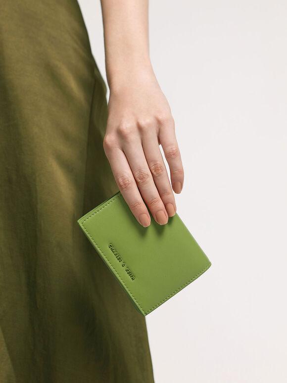 子母扣摺疊短夾, 綠色, hi-res
