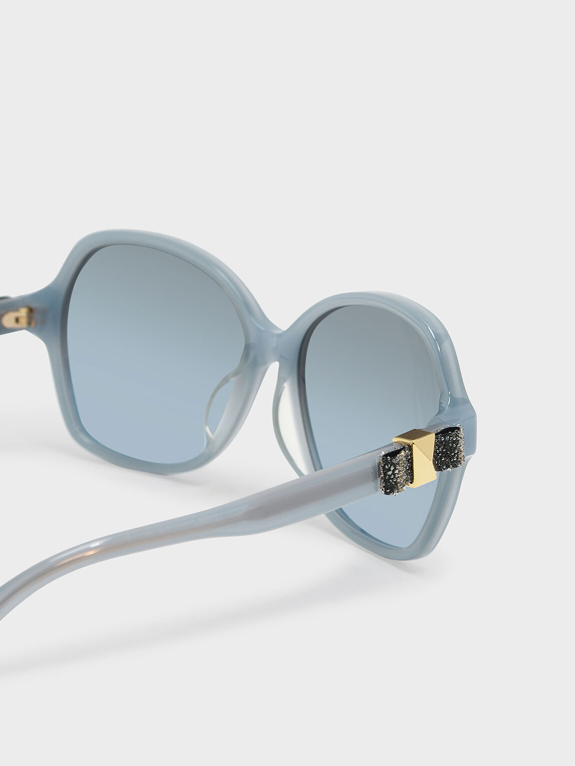 Embellished Butterfly Sunglasses, Blue, hi-res
