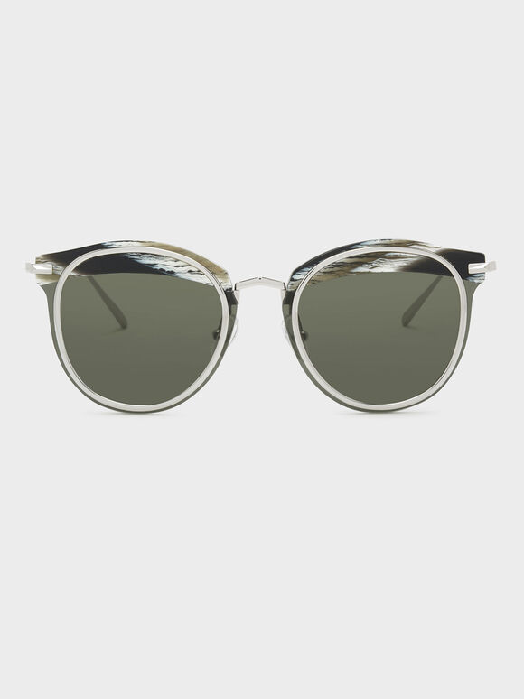 Acetate Frame Sunglasses, Grey, hi-res