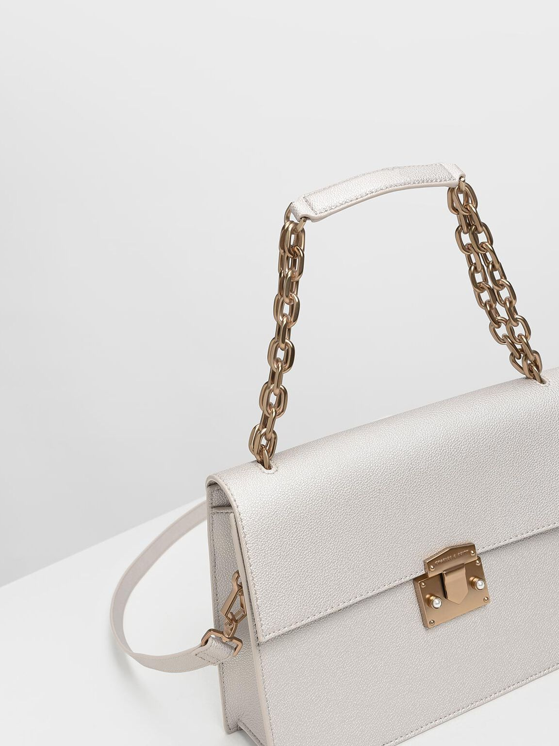 Chain Handle Shoulder Bag, Pearl, hi-res